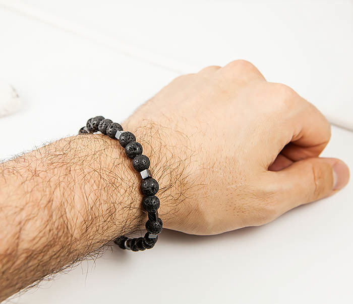 BS777 Стильный мужской браслет из гематита и лавы фото 07