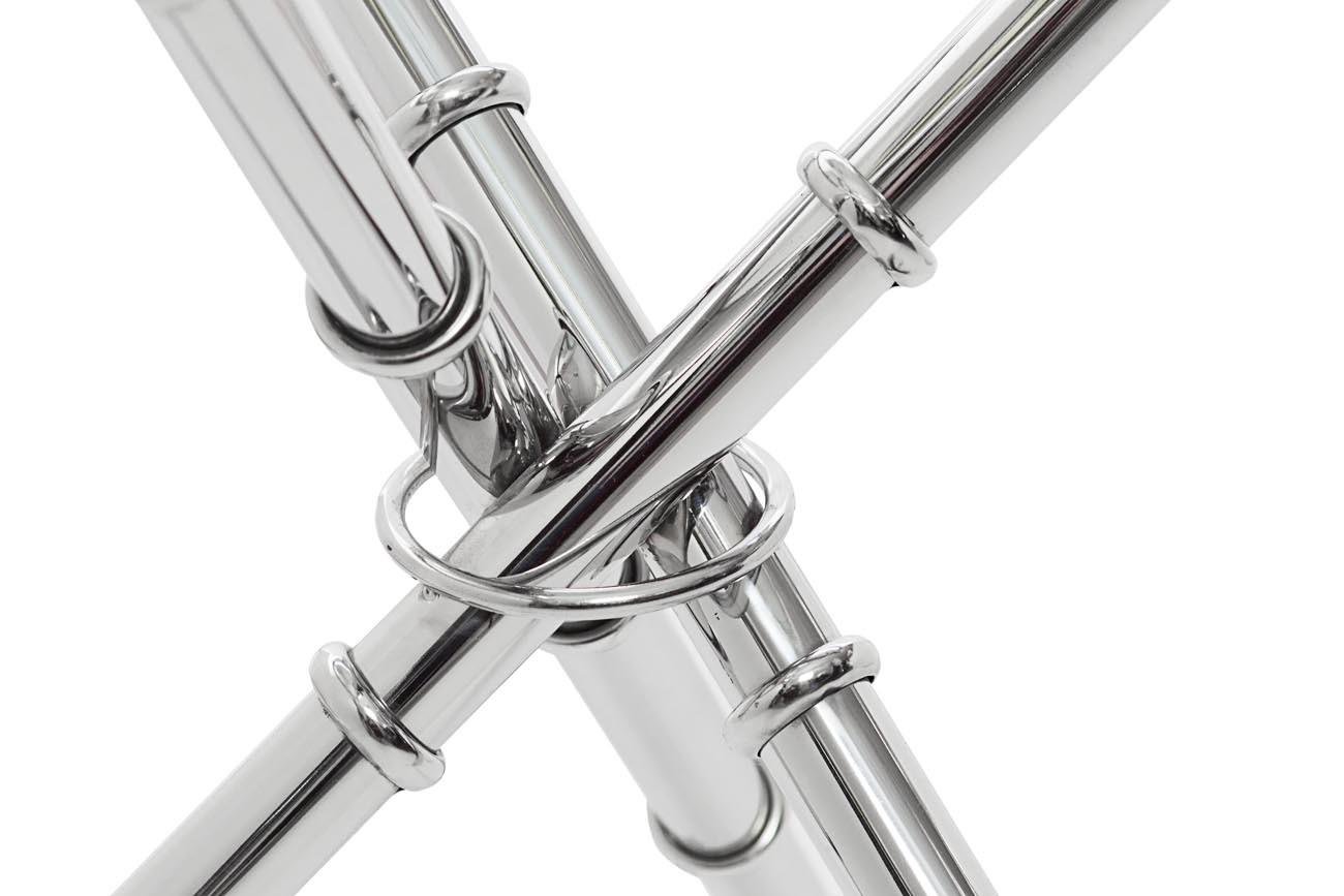 Стол журнальный 13RX6035-SILVER стекло прозр./серебро 50*50*50см