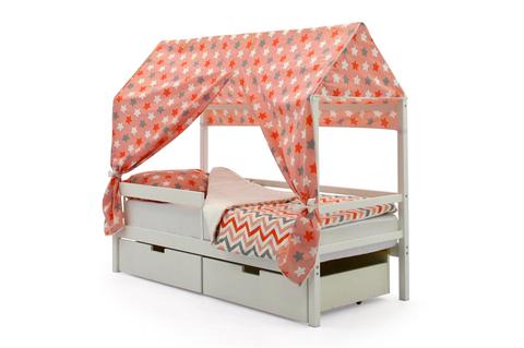 """Крыша текстильная для кровати-домика Svogen """"звезды красный, белый, графит, фон розовый"""""""