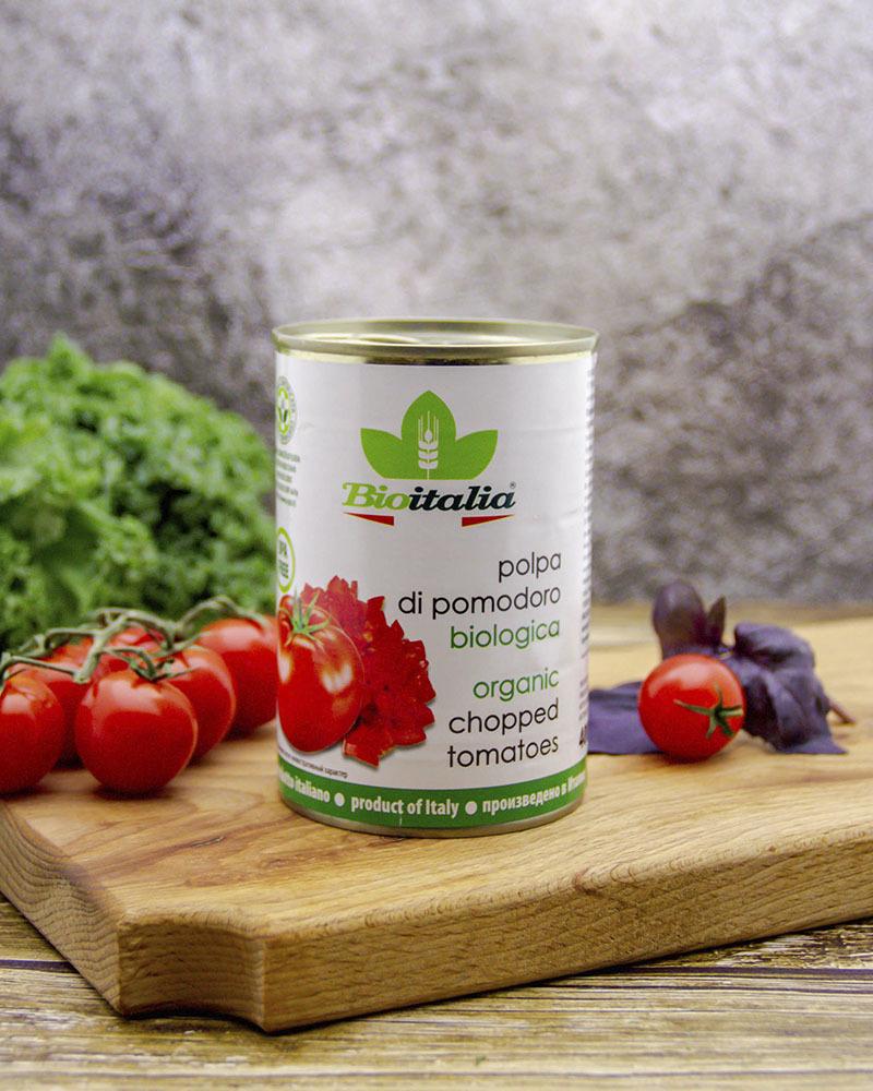 Томаты Bioitalia очищенные резаные в томатном соке 400 гр.