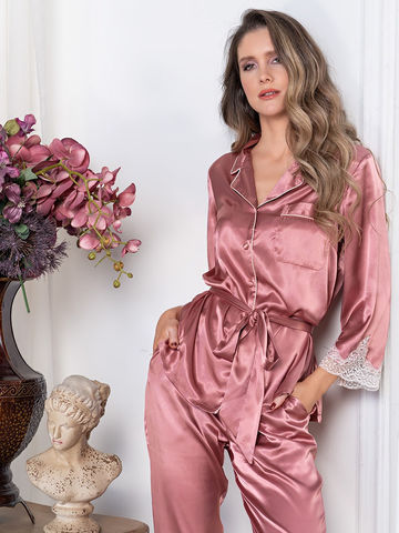 Комплект шелковый с брюками Mia-Amore  MARILIN Мэрилин 3546 чайная роза
