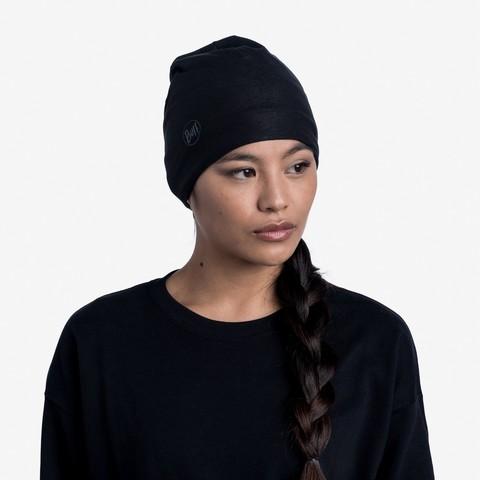 Тонкая флисовая шапочка Buff Hat Polar Microfiber Solid Black фото 2