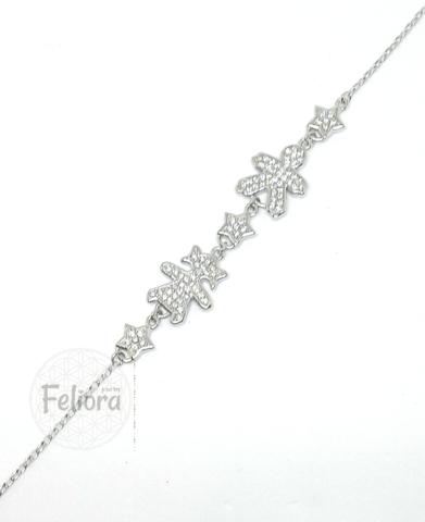 17573- Браслет из серебра с фианитами с фигурками