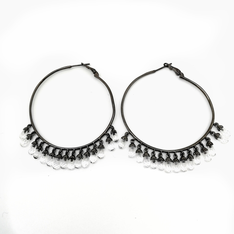 168/007- Серьги-кольца Drop из чёрного серебра с цирконами-каплями огранки бриолет