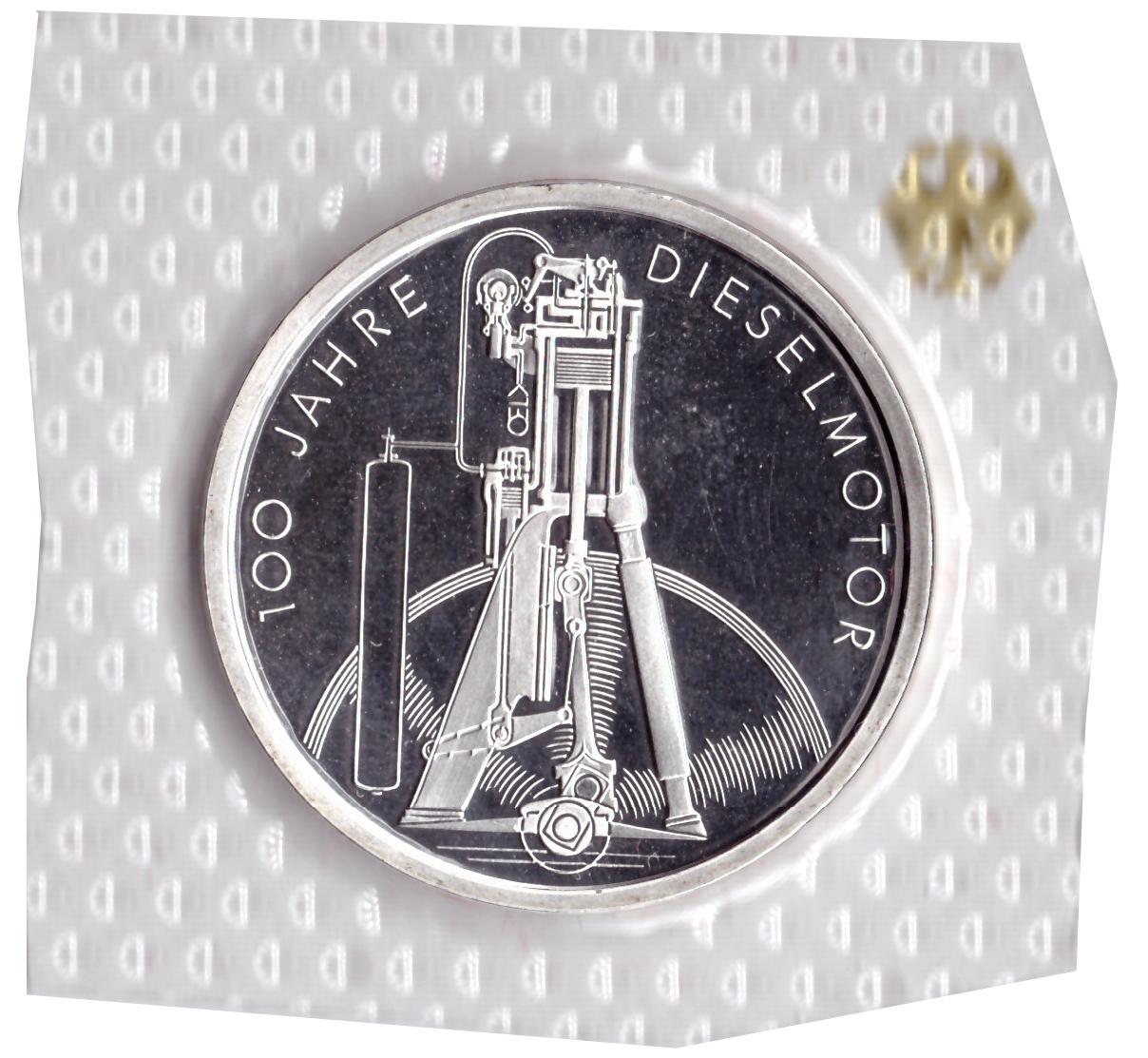 10 марок 1997 год (J) 100 лет дизельному двигателю, Германия. PROOF в родной запайке