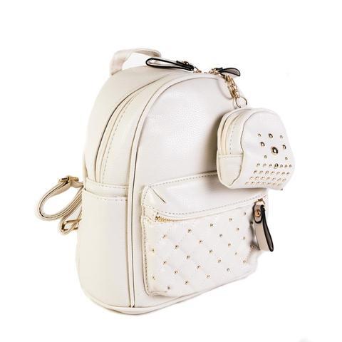 Женский средний рюкзак 20х26х13 см с брелком-кошельком белый 2968-5