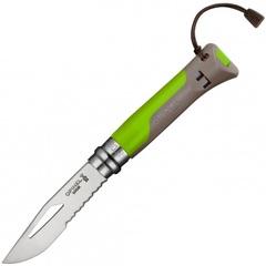 Нож Opinel №8 Fluo Green, нержавеющая сталь, зеленый