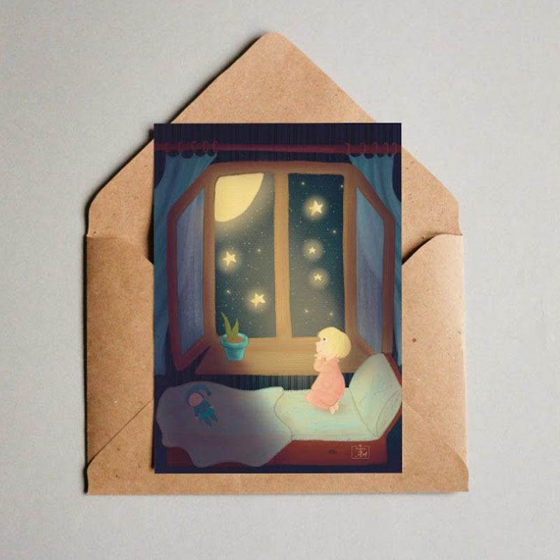 Фотография Открытка авторская почтовая «Перед сном» / 10*15 см купить в магазине Афлора