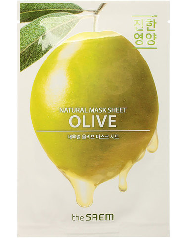 СМ Маска на тканевой основе для лица N с экстрактом оливы Natural Olive Mask Sheet 21мл
