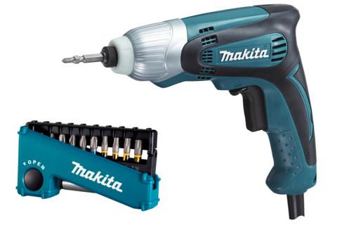 Ударный шуруповёрт Makita TD0100 + набор бит E-03567
