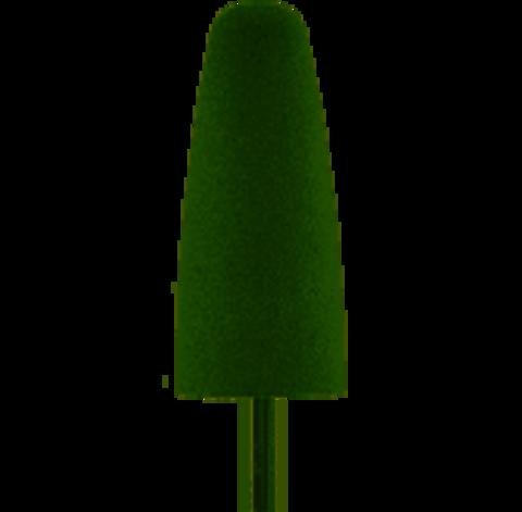 Фреза-полировщик силиконовая, конус закругленный (средняя твердость), зеленая 10x24 мм