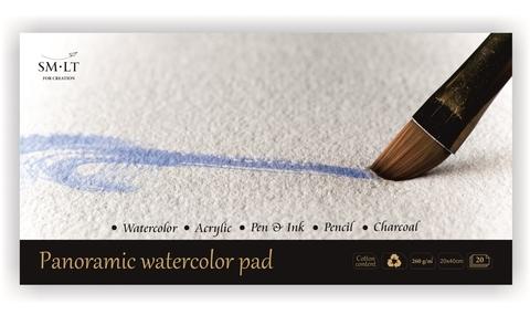Альбом для акварели Watercolor 260г/м2 (содержит хлопок) 40*20см 20л склейка по одной стороне