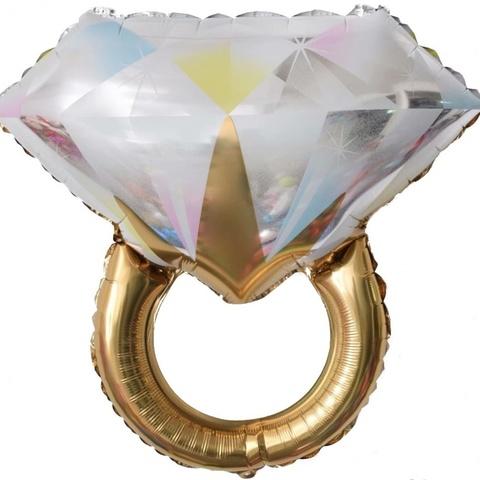 Фольгированный шар «Кольцо с бриллиантом», золото/розовое золото 69см