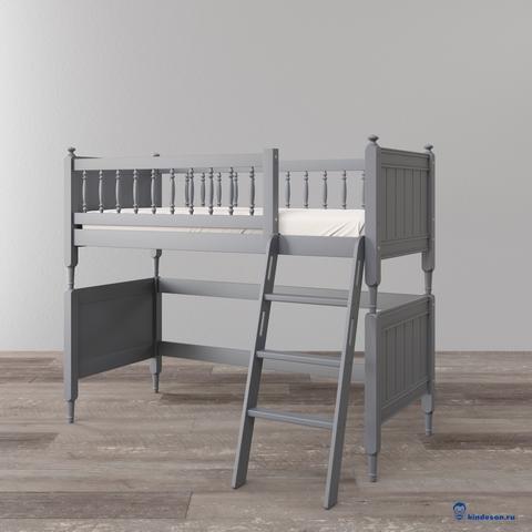 Невысокая кровать-чердак для детей. Классический стиль, премиум класс, цвет серый (графит)