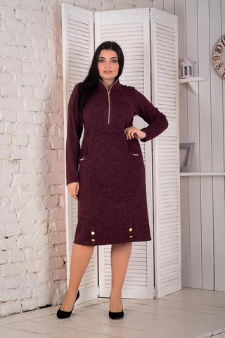 Кейт. Тепле стильне плаття великих розмірів. Бордо