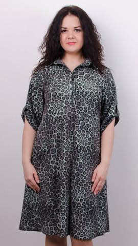 Палма. Красивое платье-рубашка больших размеров. Леопард серый.