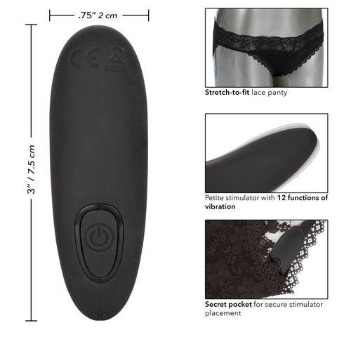 Черные кружевные трусики с вибромассажером Remote Control Panty Set L/XL