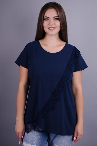Джулія. Універсальна блуза плюс сайз. Синій.