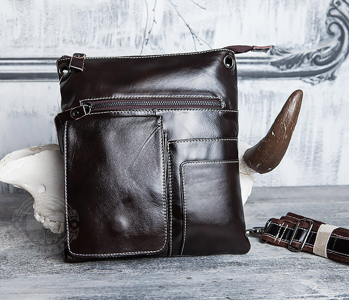 BAG403-2 Красивая мужская сумка из кожи с ремнем на плечо
