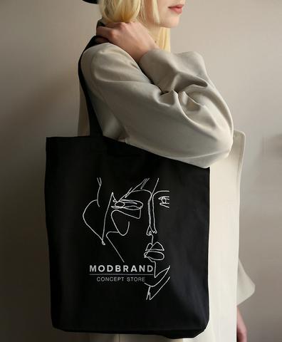 Холщовая сумка с логотипом черная