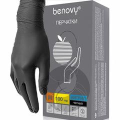 Benovy, Перчатки нитриловые, черные, р-р L,100 пар/уп.