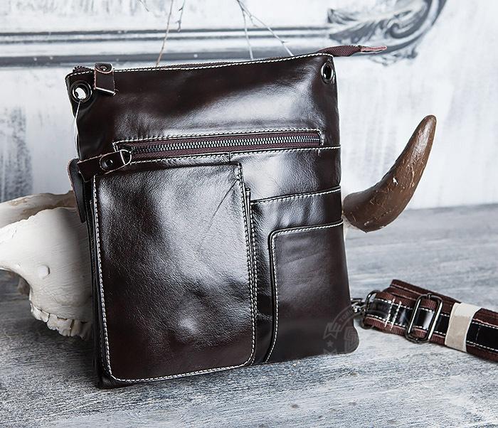 BAG403-2 Красивая мужская сумка из кожи с ремнем на плечо фото 02