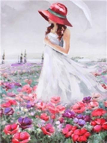 Картина раскраска по номерам 40x50 Дама в шляпе на цветочном поле