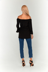 Черная блуза Lolly с открытыми плечами