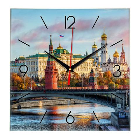 Стеклянные настенные часы с логотипом Москва 18 09