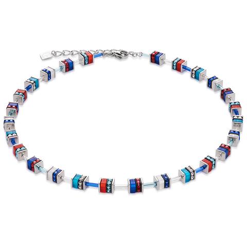 Колье Coeur de Lion 4409/10-0703 цвет красный, синий, голубой, серебряный