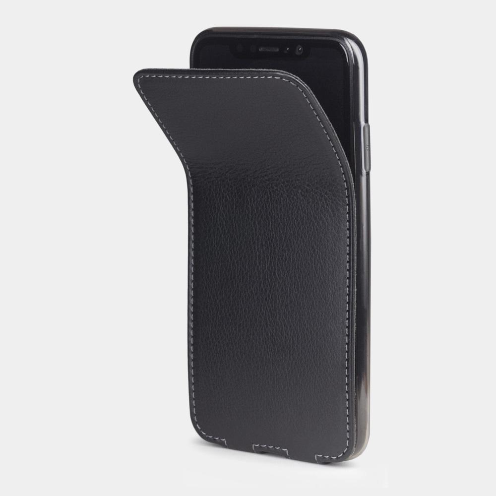 Чехол для iPhone X/XS из натуральной кожи теленка, черного цвета