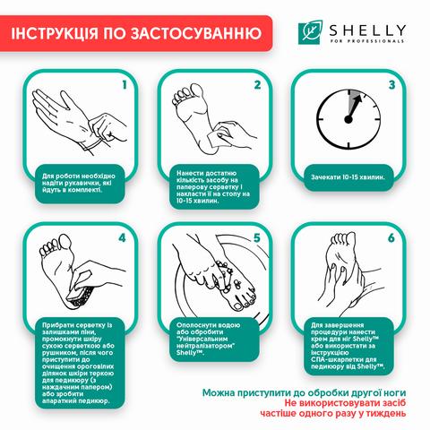 Пінний експрес-розм'якчувач для педикюру М'яке лезо Shelly 150 мл + спа-шкарпетки для педикюру + пемза В ПОДАРУНОК! (2)