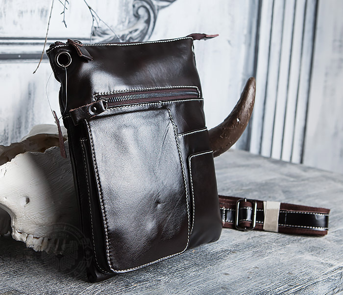 BAG403-2 Красивая мужская сумка из кожи с ремнем на плечо фото 03