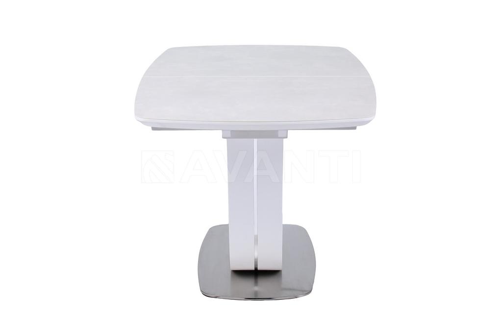 Стол обеденный OASIS/CERAMIC (1600-2100x900x760) MATT WHITE/ LIGHT GRAY (белый сатин/серый)