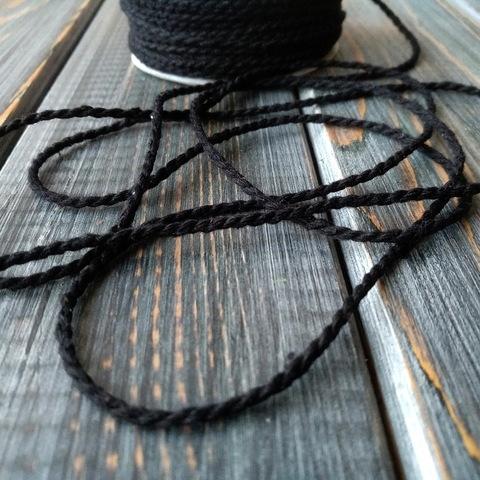 Шнур хлопковый черный (25м)