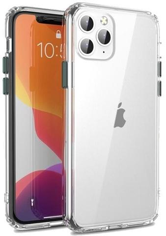 Тонкий чехол на iPhone 11 Pro, прозрачный с темно-зелеными кнопками, серии Ultra Hybrid от Caseport