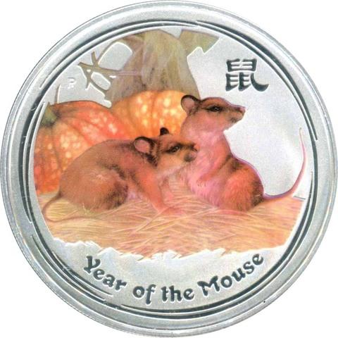 1 доллар. Год Мыши (крысы). Австралия. 2008 год (цветная)