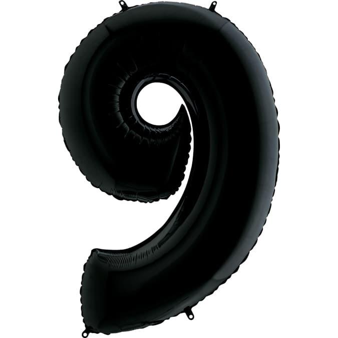 Фольгированная цифра 9, черный
