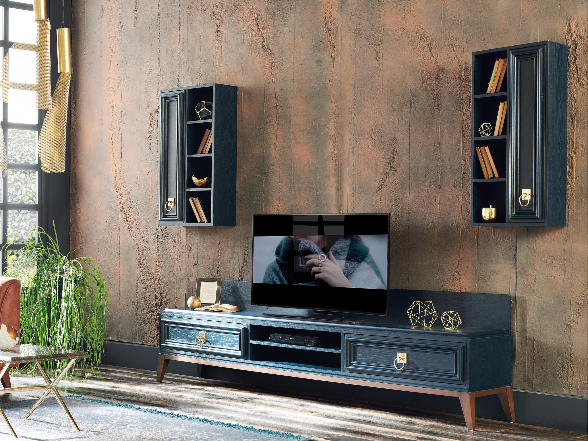 ТВ тумба ELEGANTE темно-синий и Настенные Шкафы ELEGANTE темно-синии правый и левый