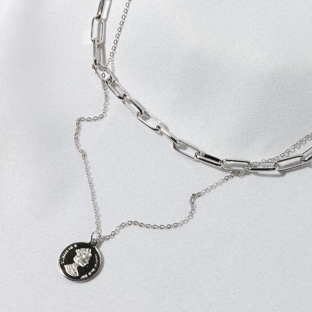 Цепь двурядная с монетой серебряный