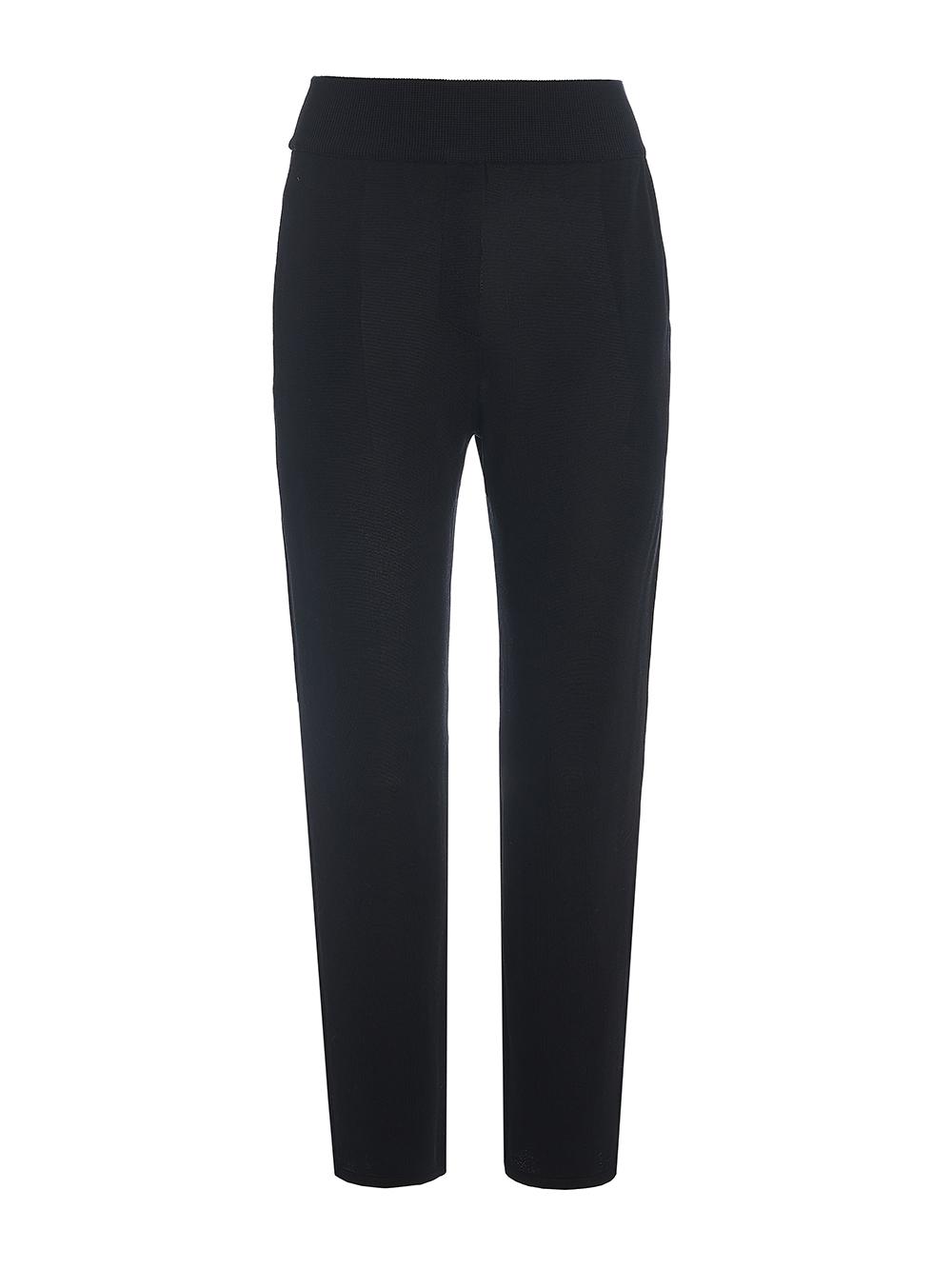 Женские брюки с карманами черного цвета из шелка и вискозы - фото 1