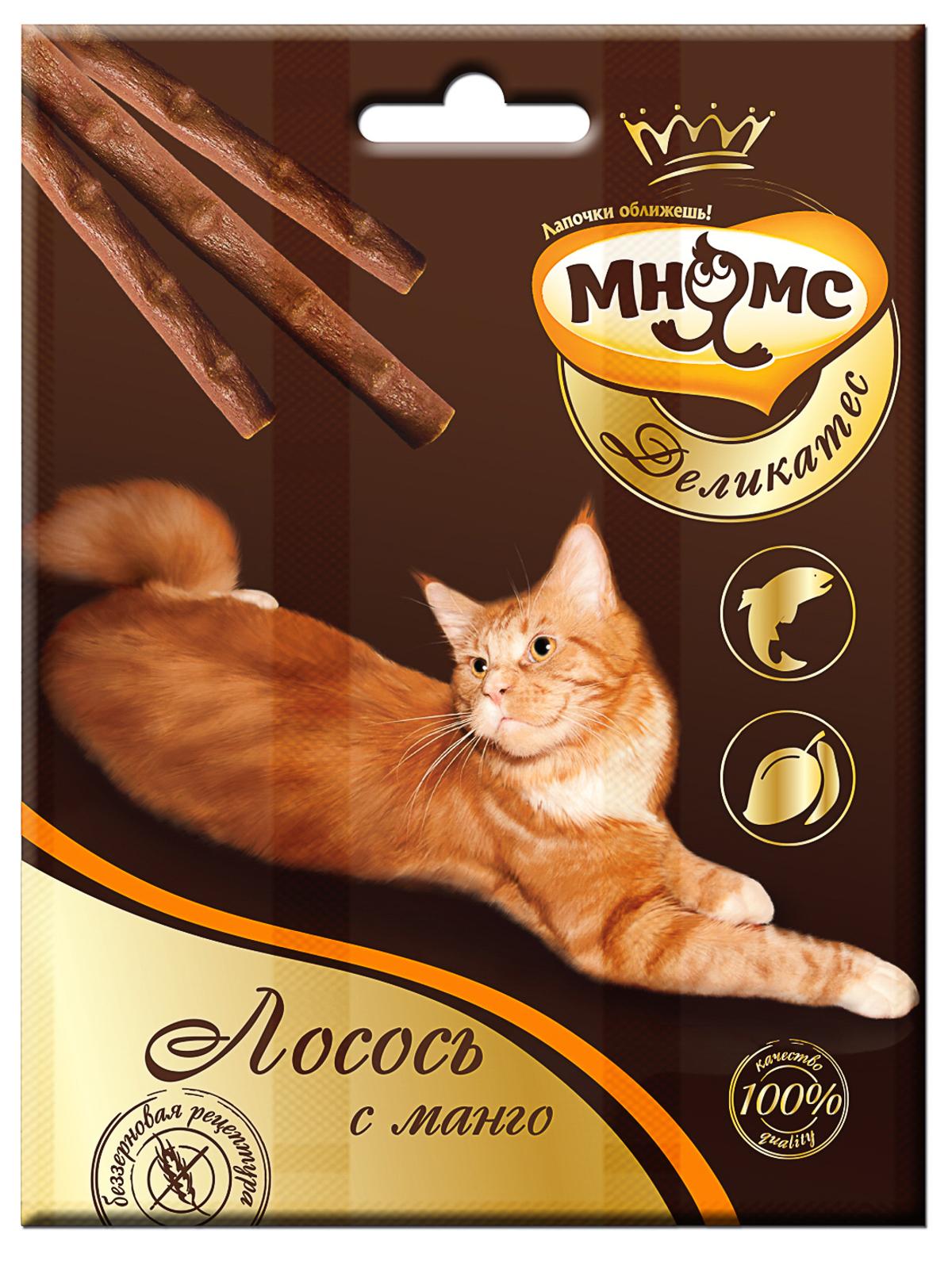 Мнямс Лакомые палочки 9 см для кошек Мнямс Деликатес с лососем и манго 703317_1.jpg
