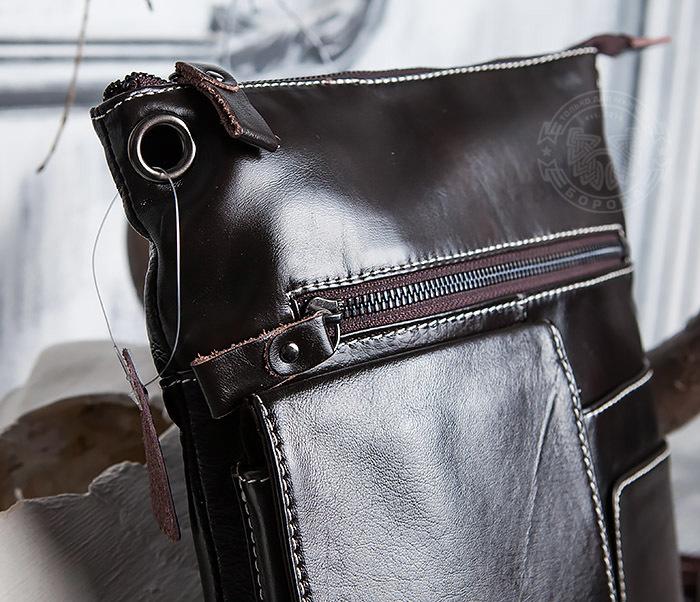 BAG403-2 Красивая мужская сумка из кожи с ремнем на плечо фото 04