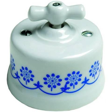 Выключатель поворотный 10А 250В~. Цвет Белый/синий декор. Fontini Garby(Фонтини Гарби). 30306112