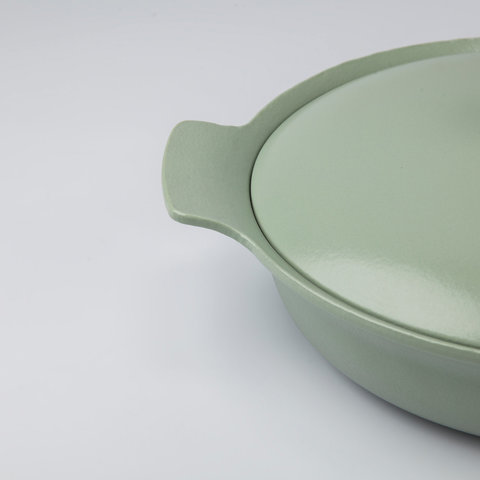 Сотейник чугунный с двумя ручками 28см 3,3л (зеленый) Ron