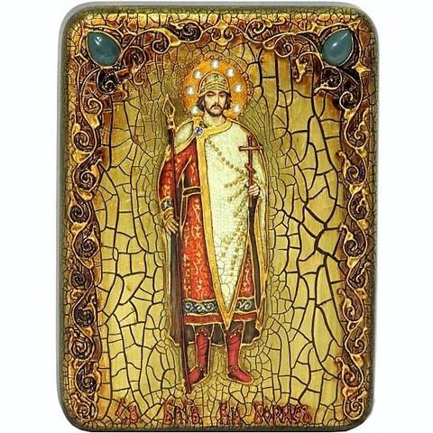 Инкрустированная икона Святой благоверный князь Борис 20х15см на натуральном дереве, в подарочной коробке