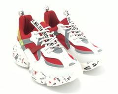 Кроссовки натуральная белые с красным на массивной подошве
