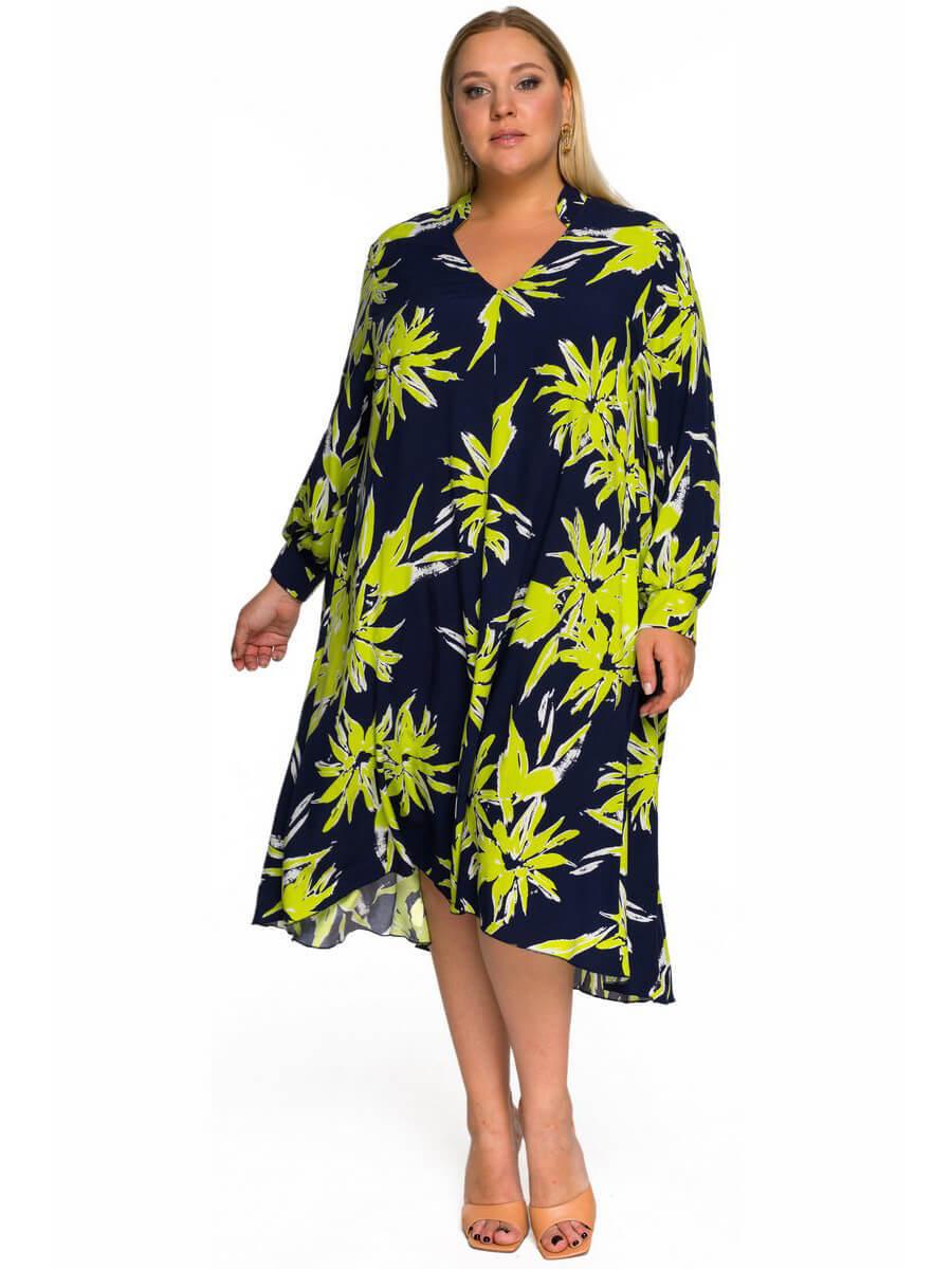 Платье свободное асимметричное Тропики