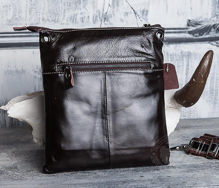 BAG403-2 Красивая мужская сумка из кожи с ремнем на плечо фото 05