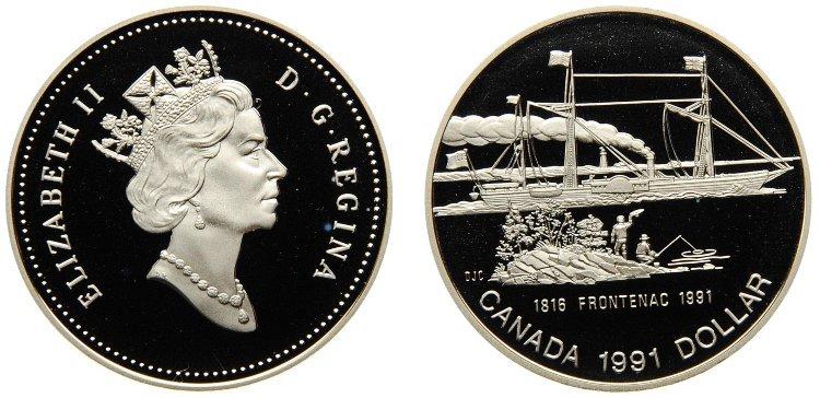 1 доллар. 175 лет пароходу Фронтенак. Канада. Серебро. 1991 год. Proof